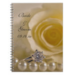 White Rose and Pearls Wedding Spiral Notebook