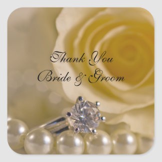 White Rose and Pearls Wedding Thank You Favor Tags