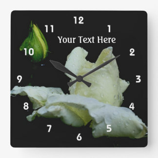 White Rose And Raindrops Flower Square Wall Clock