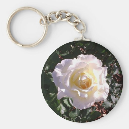 White Rose and Rose Bud Photograph Keychain
