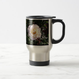 White Rose and Rose Bud Photograph Travel Mug