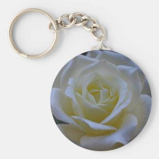 White rose at dusk keychain
