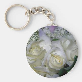 White Rose & Baby breath flowers_ Basic Round Button Keychain