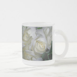 White Rose & Baby breath flowers_ Frosted Glass Coffee Mug