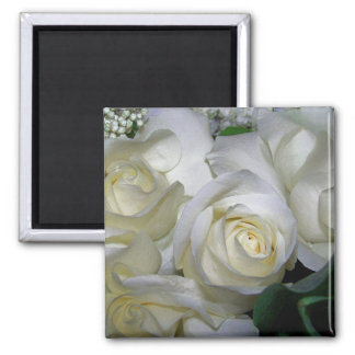 White Rose & Baby breath flowers_ Refrigerator Magnets