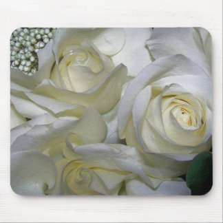 White Rose & Baby breath flowers_ Mouse Pad