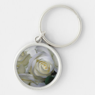 White Rose & Baby breath flowers_ Silver-Colored Round Keychain