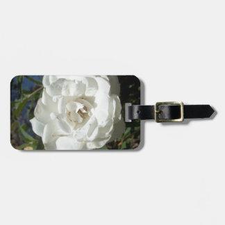 White rose bag tag