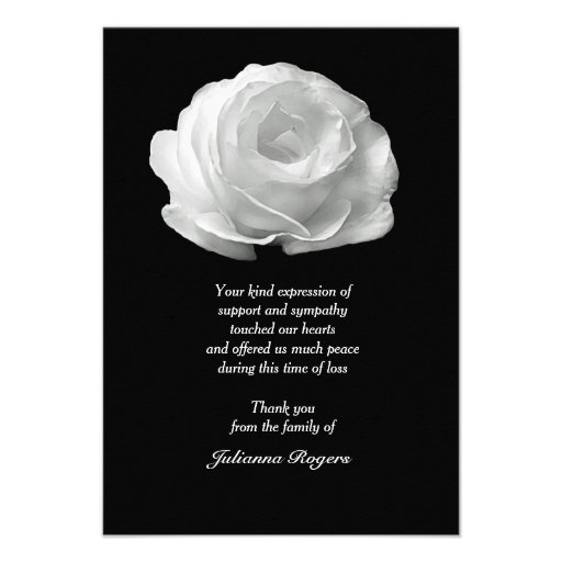 White Rose Bereavement Thank You Notecards (3.5x5) Custom Announcements