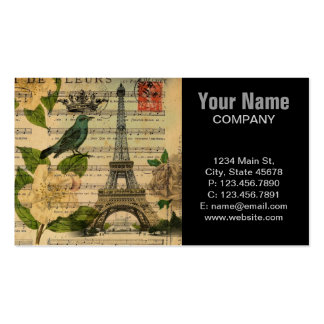White rose birds botanical art vintage Paris Double-Sided Standard Business Cards (Pack Of 100)