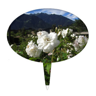 White rose blooms on a mountain background cake topper