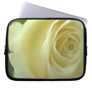 white rose blossom laptop sleeve