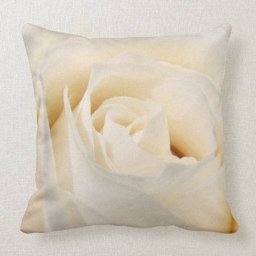 White rose blossom throw pillow Zazzle