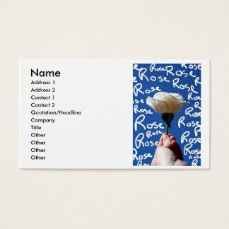 White rose, blue back, Rose written in white Business Card