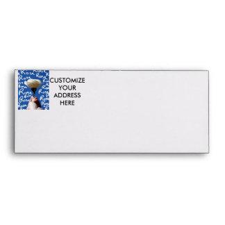 White rose, blue back, Rose written in white Envelope