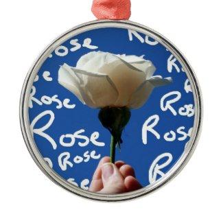 White rose, blue back, Rose written in white ornament