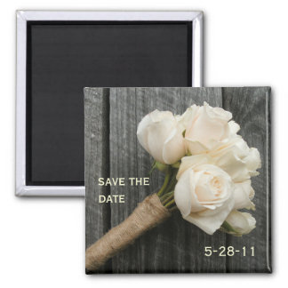 White Rose Bouquet and Barnwood Save The Date 2 Inch Square Magnet