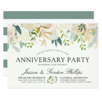 White Rose Bouquet | Anniversary Party Card