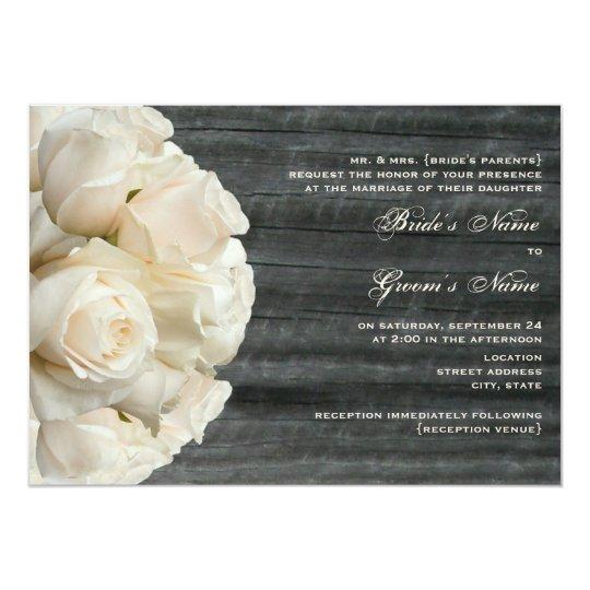 White Rose Bouquet & Barnwood Wedding Card