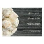 White Rose Bouquet & Barnwood Wedding Invitations