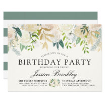 White Rose Bouquet | Floral Birthday Party Card