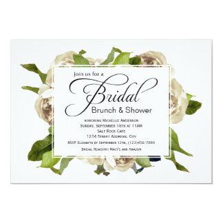 White Rose Bouquet Floral Bridal Shower Card