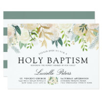 White Rose Bouquet | Floral Holy Baptism Card