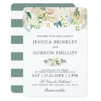 White Rose Bouquet | Floral Wedding Invitation