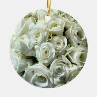 White Rose Bouquet-Ornament Double-Sided Ceramic Round Christmas Ornament