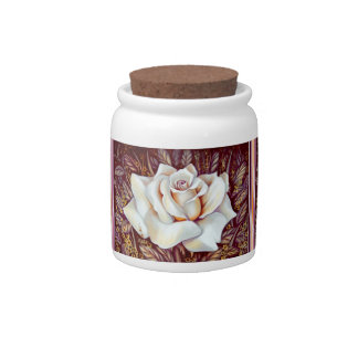 White rose bouquet realistic painting candy jar