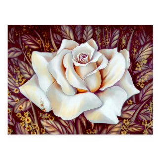 White rose bouquet realistic painting postcard