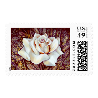 White rose bouquet realistic painting stamp