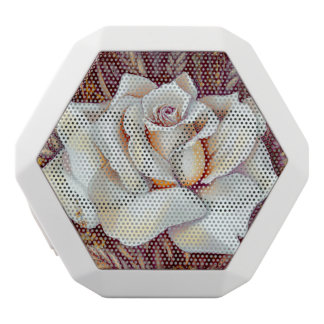 White rose bouquet realistic painting white bluetooth speaker