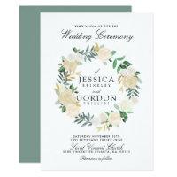 White Rose Bouquet Wreath | Floral Wedding Invitation