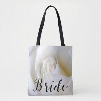 White Rose Bride Canvas Tote Bag Over all