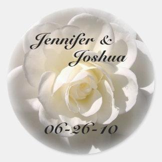 WHITE Rose - Bride & Groom Wedding Envelope Seal Classic Round Sticker