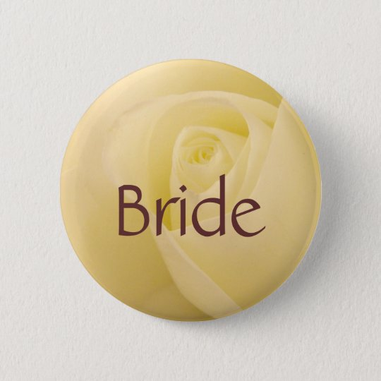 White rose Bride to be button