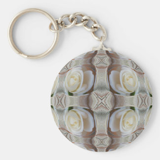 White Rose Bubbles Basic Round Button Keychain
