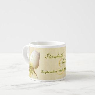 White rose bud keepsake wedding espresso mug