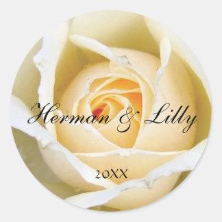 White Rose Bud Personalized Round Wedding Sticker