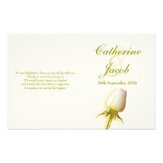 White rose bud wedding programme flyer