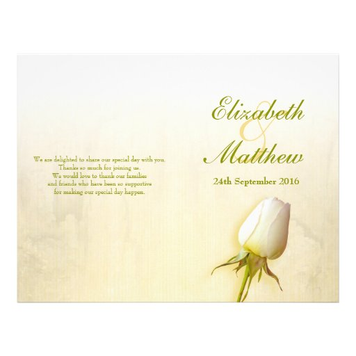 White rose bud wedding programme personalized flyer