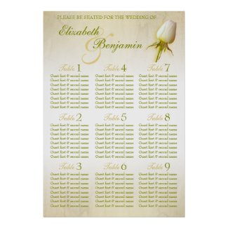 White Rose Bud Wedding Seating Table Planner 1-9 Print
