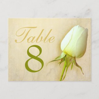White rose bud wedding table number 1-9 postcard
