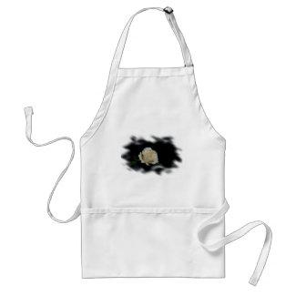 White Rose Burned Edges zazzle_apron