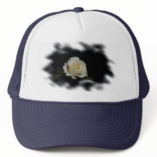 White Rose Burned Edges zazzle_hat