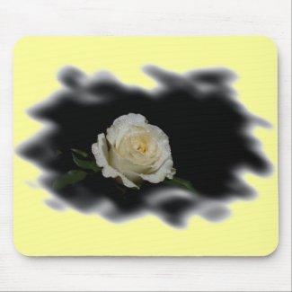 White Rose Burned Edges zazzle_mousepad