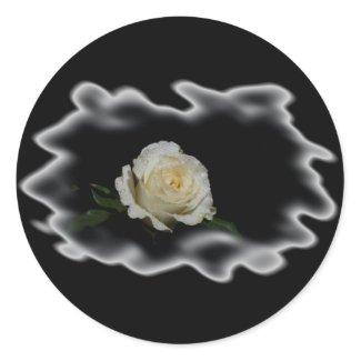 White Rose Burned Edges zazzle_sticker