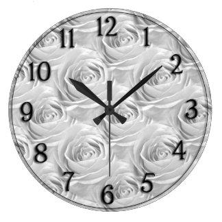 White Rose Center Wallpaper Pattern Large Clock