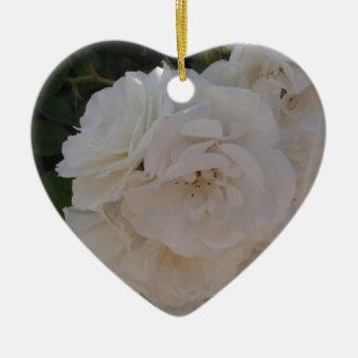 White Rose Ceramic Ornament
